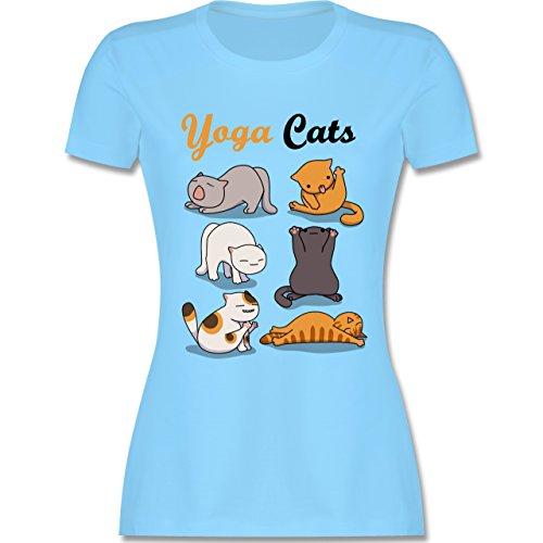 Statement Shirts - Yoga Cats - XXL - Hellblau - L191 - Damen Tshirt und Frauen T-Shirt - Kleinkind-t-shirt Klassiker