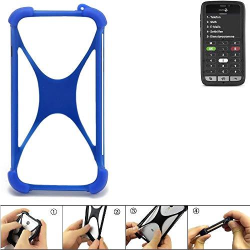 K-S-Trade Bumper für Doro 8031C Silikon Schutz Hülle Handyhülle Silikoncase Softcase Cover Case Stoßschutz, blau (1x)