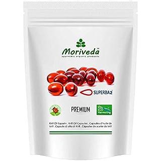 Krillöl Kapseln, 100% reines SUPERBA Premium Krill Öl – Omega 3,6,9 Astaxanthin, Phospholipide, Choline, Vitamin-E - Markenqualität von MoriVeda (60 Softgels)
