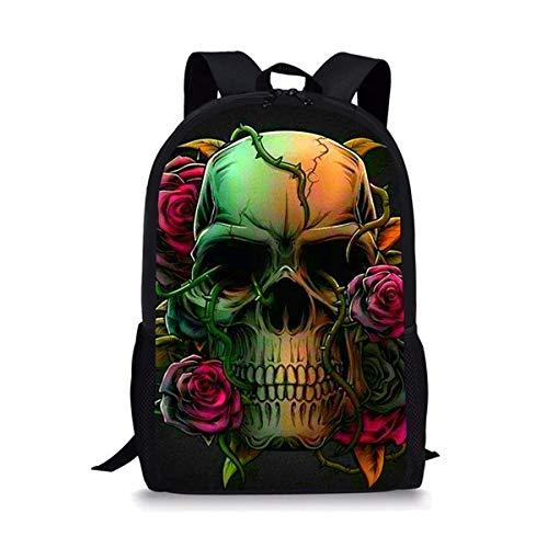 OOGUOSHENG Coole Punk-Schädel-Schultaschen Für Teenager-Jungen-Mädchen-Schwarze Klassische Studentenkinder-Schulrucksack-Taschen Personalisierte Buch-Taschen -7
