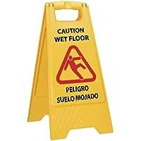 Señal de aviso suelo mojado en español e ingles - Alta visibilidad para evitar accidentes