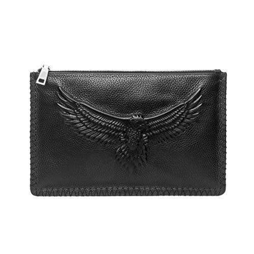FENICAL Herren Clutch Bags Leder große geräumige Handtasche Handgelenk Tasche mit Reißverschluss Tasche Organizer Telefon Scheckheft Brieftasche für Office Ipad (schwarz) -