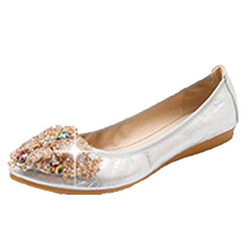 Ohmais Chaussure femme cérémonie Ballerines femme à bride Fête Demoiselle dhonneur Mariage Escarpin plat Argent