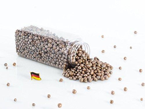 Set 3 x Deko Perlen Granulat / Blähtonkugeln PERLA, glänzend kaffeebraun, 2-8mm, 605ml Dose, Made in Germany - Dekogranulat / Deko Perlen Farbgranulat / Pflanzton - monsterkatz