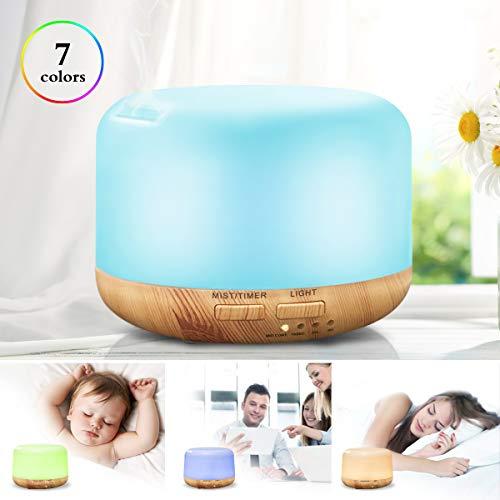 UBEGOOD Humidificador, Aire Humidificador con Ajustable Modos de Niebla, 7-Color LED Light, Hogar, Oficina,Bebé, Ambientado (300ml)