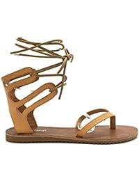 CHIC NANA . Sandale à lacet tour de cheville, bout ouvert entre doigt, aspect PU en couleur Blanc