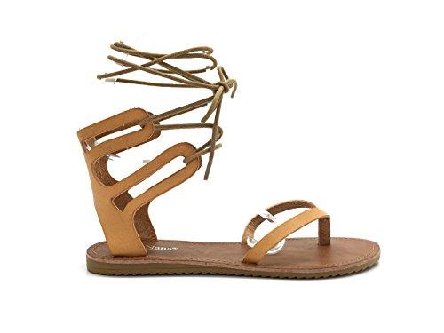 CHIC NANA . Sandale à lacet tour de cheville, bout ouvert entre doigt, aspect similicuir en couleur Camel 37.
