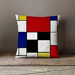 Ethelt5IV Piet Mondrian Housse de Coussin décorative taie d'oreiller taie d'oreiller taie d'oreiller Personnalisable taie d'oreiller Décoration de la Maison Mondrian