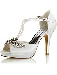 85257c16 Emily Bridal Zapatos de Boda Zapatos de Novia Marfil Peep Toe Rhinestones  Criss Cross Zapatos de Novia Sandalias…