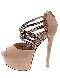 ZHZNVX Scarpe da donna Pelle di pecora Primavera Comfort Heels Chunky Heel Nero/Beige / Rosso, Nero, US6.5-7 / EU37 / UK4.5-5 / CN37