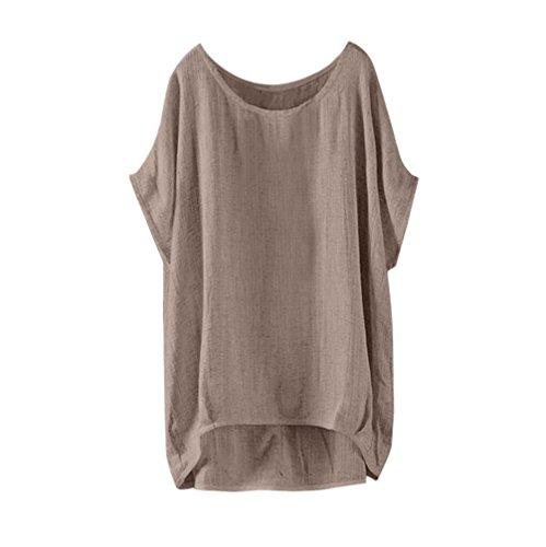 IMJONO T-Shirt Womens Fledermaus Kurzarm beiläufige lose Top Dünnschnitt Bluse Pullover(Khaki,EU-36/CN-S) (Rosa Hawaii-womens T-shirt)