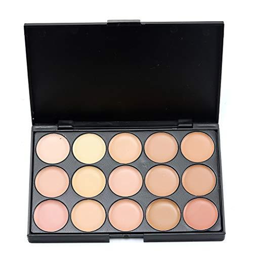 Cooljun Palette complète de cache-cernes,Makeup Palette 15 Shades Concealer et Foundation avec Pinceau de maquillage (B)