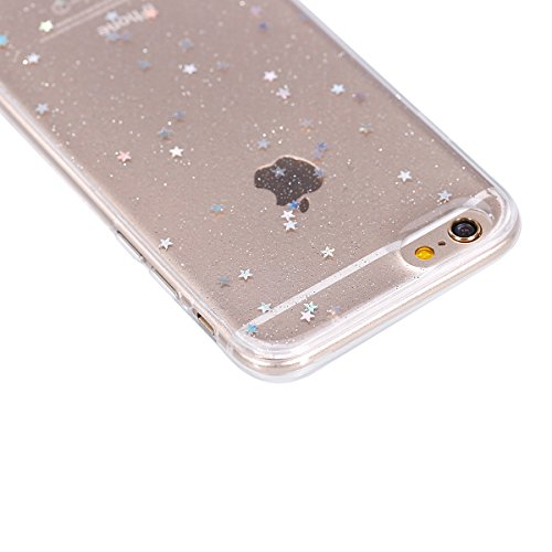 Coque Housse Etui pour iPhone 6 Plus/6S Plus, iPhone 6S Plus Coque en Silicone Clear Etui Housse,iPhone 6 Plus Silicone Coque Transparent Housse Etui Gel Slim Case Soft Gel Cover Skin, Ukayfe Etui de  Transparent-étoile