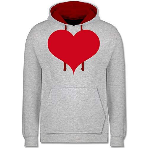 Shirtracer I Love - Herz klassisch rot - XL - Grau meliert/Rot - JH003 - Kontrast Hoodie