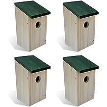 vidaXL Casa de Pájaro Nido de Aves Madera 4 Piezas Conjunto de Jaulas