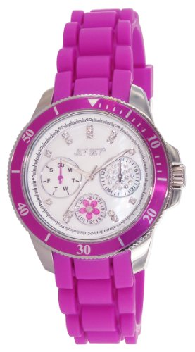 Jet Set 50962-145-Amsterdam-J Women's Watch Analogue Quartz Nacre Dial Purple Rubber Bracelet