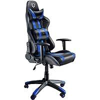 Diablo X-One Gaming Silla de Oficina Mecanismo de inclinación reposabrazos Ajustables cojin Lumbar y Almohada Cuero sintético selección de Color (Negro/Azul)