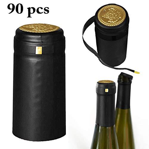 Justdolife Weinflasche Kapsel PVC Wärmeschrumpfkapsel Weinflasche mit Abreißlasche - Faktoren, 90 Kapseln