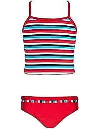 Landora® gestreifter Mädchen Tankini in rot/türkis/weiß -- Oeko-Tex® Standard 100