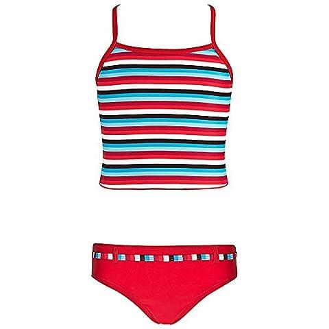 Landora® gestreifter Mädchen Tankini in rot/türkis/weiß -- Oeko-Tex® Standard 100 in Größe