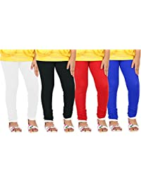 Goodtry Girls Cotton Leggings Pack of 4 Black, White Red and Royal Blue