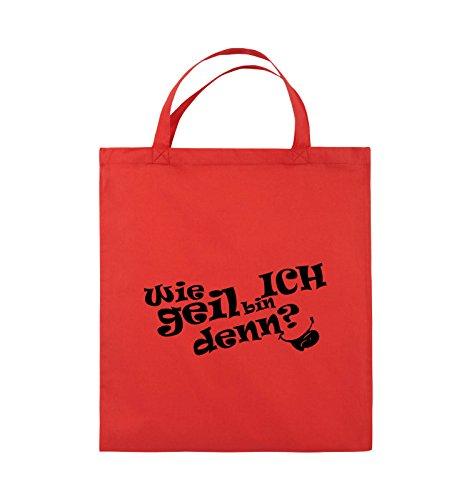 Comedy Bags - Wie geil bin ICH denn? - ZUNGE - Jutebeutel - kurze Henkel - 38x42cm - Farbe: Schwarz / Pink Rot / Schwarz