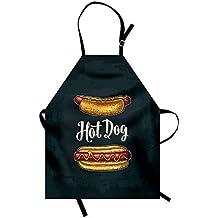 Delantal para refrigerio, Sandwich de salchicha con mostaza para perritos de comida rápida para hot