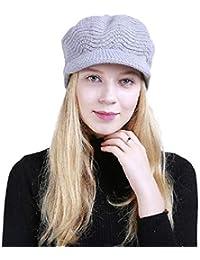 heekpek Invierno de Punto Sombrero Boina Mujer Caliente Gorro de Punto  Crochet Boina de Mujeres Femenino de Viaje Invierno Primavera Cozy… 24203362f12