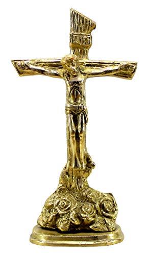 Stonkraft Jesus Christ Cross Brass Statue in Antique Finish (8