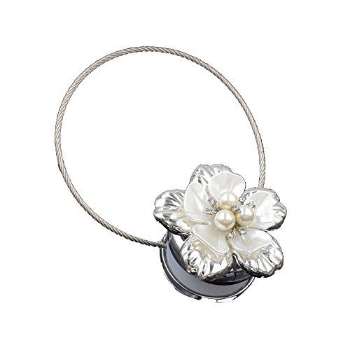 Kalaokei Magnetverschluss Blume Faux Perle Vorhang Raffhalter Schnalle Fenster Verschluss Halter Decor Silber (Vorhang Zugbänder Silber)