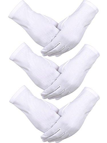 3 Paar Nylon Baumwolle Handschuhe Weiß Parade Kostüm Handschuhe für Polizei Formale Smoking Ehrengarde und besondere Anlässe (Smoking Passen)