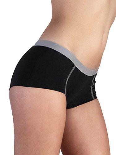 Damen Boyshort Bio-Baumwolle 6 Farben Short Boxershort Panties Panty Pants Slip Hipster Unterhosen (XL-42 schwarz) (Farbe Boyshorts)