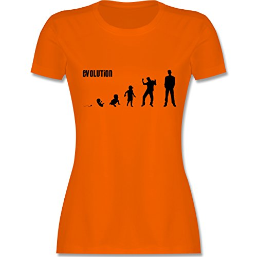 Evolution - Mann Evolution - tailliertes Premium T-Shirt mit Rundhalsausschnitt für Damen Orange