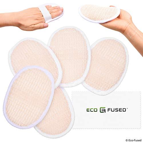 Luffa-Pads (5er Pack) - Peeling-Schwämme - Weiche Baumwolle - Ätherisches Hautpflegeprodukt - Für Dusche/Bad - Faserige Textur - Perfekt für Gesicht/Körperwäsche - Naß machen und Seife auftragen -