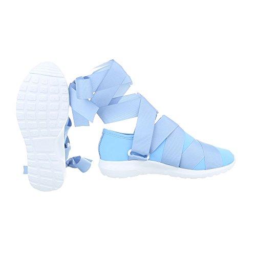 Scarpe da donna Sneaker piatto Sneakers low Ital-Design lumière bleue G-17