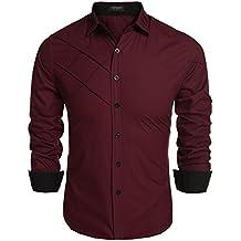 Coofandy Camisa de Vestir Hombre Manga Larga de Trabajo Multcolor de Algodón