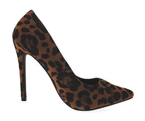 Lora Dora , Sandales Compensées femme Marron - Suède imprimé léopard