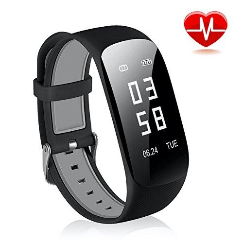 Fitness Tracker CRAZYLYNX Bluetooth Wasserdicht Fitness Armbänder Smart Watch Sportuhr mit Schrittzähler Pulsmesser Pulsuhr Aktivitätstracker Schlaf-Monitor Remote Shoot Anrufen / SMS für Android iOS Handy