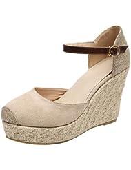 Luckycat Sandalias Mujer Cuña, Verano Plataforma Punta Cerradas Bohemias Zapatos De Tacón Alto Alpargatas De