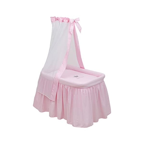 Cambrass Tc Small Bed, Crown Pink, 55 x 81 x 65 cm  Small metal cot recommended for the first months of life The metal structure includes a metal canopy and wheels for easy handling and transport Dimensions: 55cm x 81cm x 65cm 1