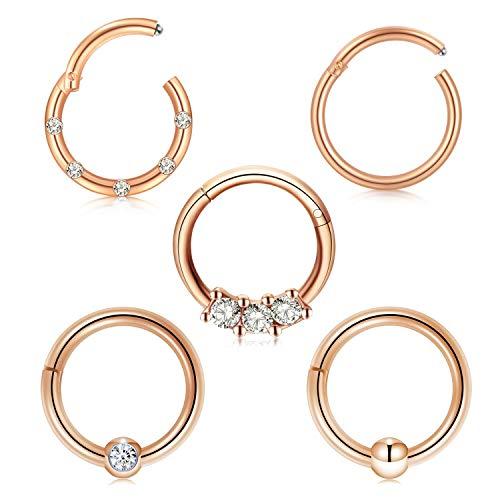 Briana Williams 5stk Nasenpiercing Septum Clicker Ring Nasenring Set Chirurgenstahl 10mm Hoop Lippe Nase Ohr Piercing Ring - Ringe Gold-nase Ohrstecker