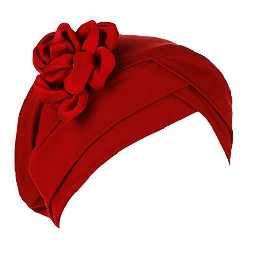 Dorical Chemotherapie Krebs Kopf Schal Hut Kappe Damen Floral Beanie Schal Muslim Kopftuch Wrap Cap Headwear Bandana für Chemo/Turban Kopfbedeckung Stretch Einfarbig Muslime Kopftuch(Weinrot)