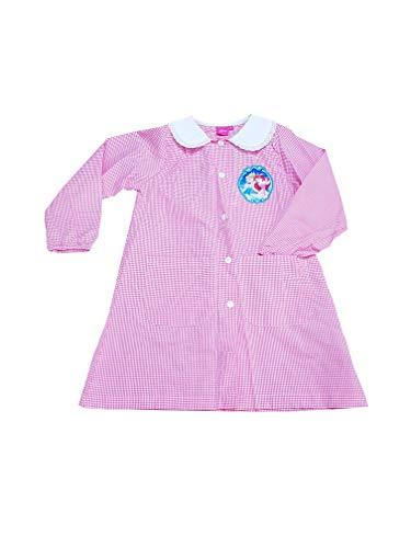 Principesse disney grembiule asilo per bambine scuola materna (art. er6449) (quadri rosa, taglia 60-5 anni)