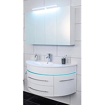 SAM® Badmöbel Set 2 Tlg, Hochglanz Weiß, LED Beleuchtung Blau, Softclose  Badezimmermöbel, Waschplatz 120 Cm Mieralgussbecken, Spiegelschrank