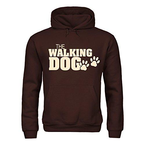 MDMA Kapuzensweatshirt The Walking Dog Paws Pfoten Textil brown / Motiv beige Gr. XL (Golden Fleece Retriever)
