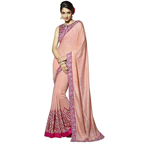 Vasu Saree Designer Peach Embroidered Fancy Fabrics Half N Half Sarees Latest Partywear