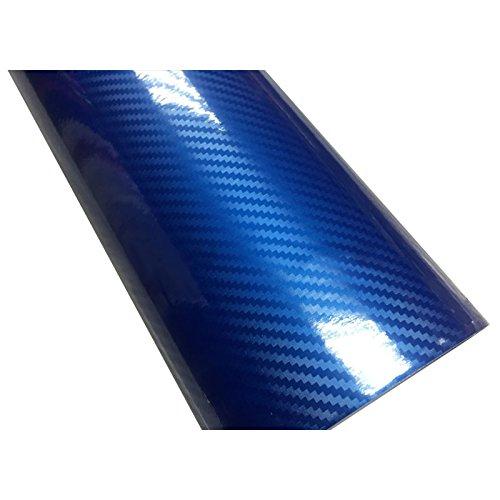 XZANTE Car Styling 30cm x 152cm Super qualita\' Alta Lucida 5D in Fibra di Carbonio Car Wrapping Pellicola vinilica Adesivi per Auto Moto Accessori Profondo Blu
