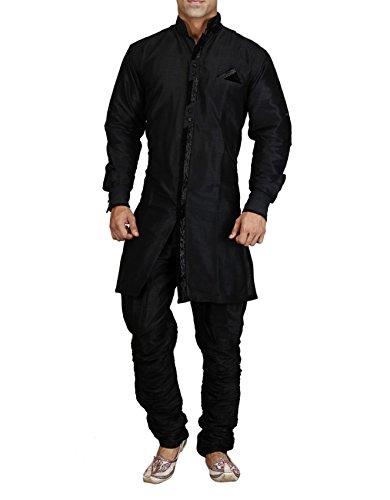 Royal Kurta Black Silk Blend Jodhpuri Indowestern Sherwani For Men
