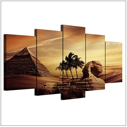 dayanzai Leinwand Gemälde Poster Decor Room Wand 5 Stücke Pyramiden Ägypten Sonnenuntergang Landschaft Bilder Kunst Gerahmte Hd Drucke 40X60 40X80 40X100 cm (Kein Rahmen) -