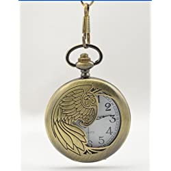 Bronze Pocket Watch & Chain Unique Design Wings